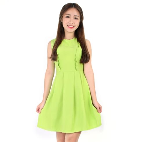 Đầm xòe cổ lượn màu xanh chuối - Khánh Linh