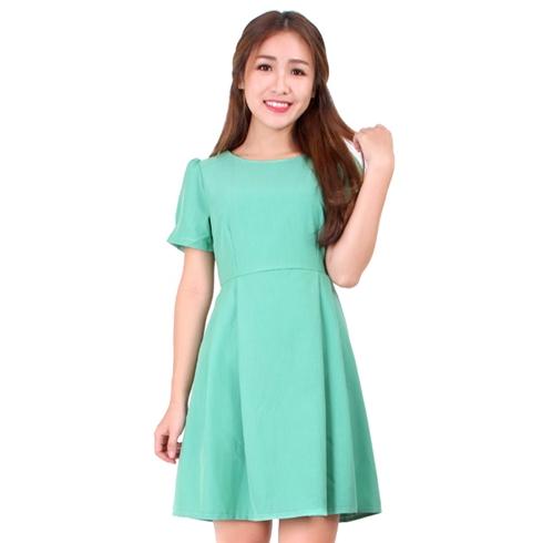 Đầm xòe linen tay phồng màu xanh - Khánh Linh