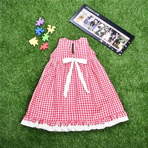 Đầm xòe họa tiết caro cho bé gái
