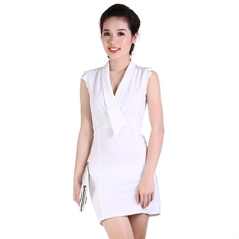Đầm công sở cổ vest cách điệu - màu trắng