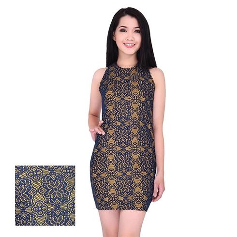 Đầm body ren cách điệu nền vàng thời trang