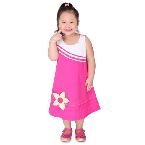 Đầm suông kate đính hoa cho bé - màu hồng