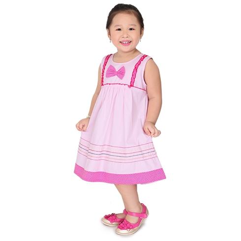 Đầm kate oversize đính nơ cho bé - màu hồng phấn