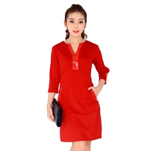 Đầm thun xuất khẩu tay lỡ phối túi màu đỏ