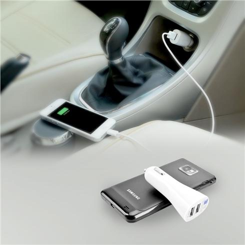 Cốc sạc đa năng dùng trên ô tô 2 cổng USB - Màu trắng