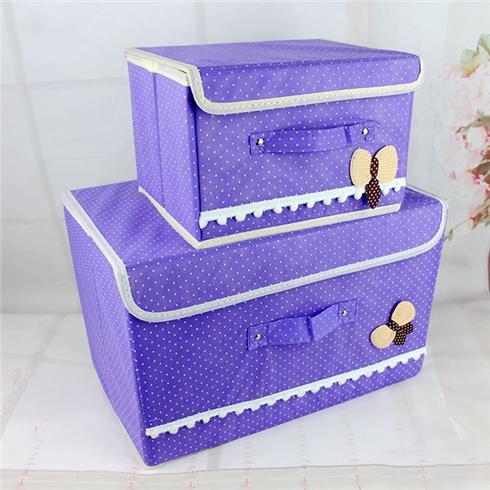 Combo 2 tủ vải khung cứng có nơ xinh xắn VNT- tím