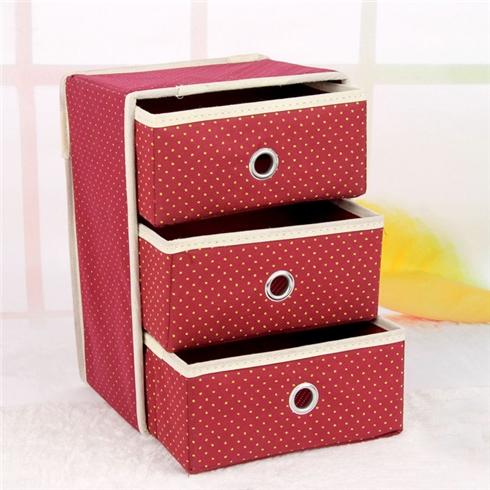 Tủ vải đựng đồ đa năng 3 tầng khung cứng VNT - đỏ