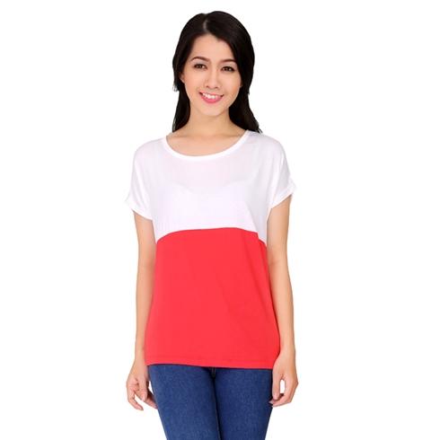 Áo thun nữ phối 2 màu đỏ trắng Cirino