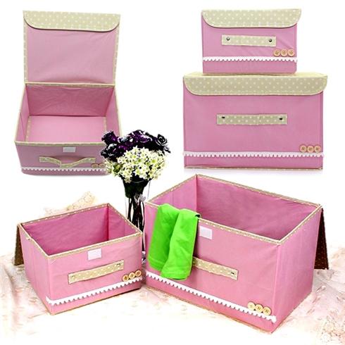 Combo 2 tủ vải khung cứng đa năng có nắp - pink