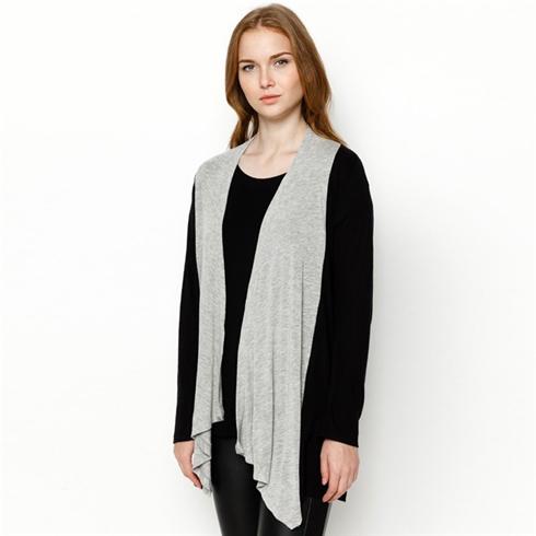 Áo khoác phối hai màu cách điệu màu xám đen Cirino