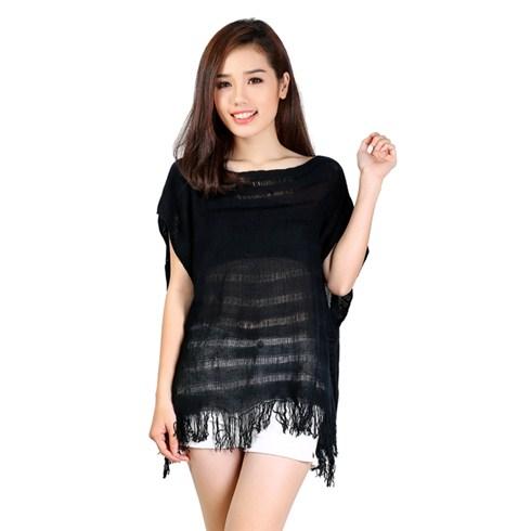 Áo len sọc ngang form rộng tua rua màu đen