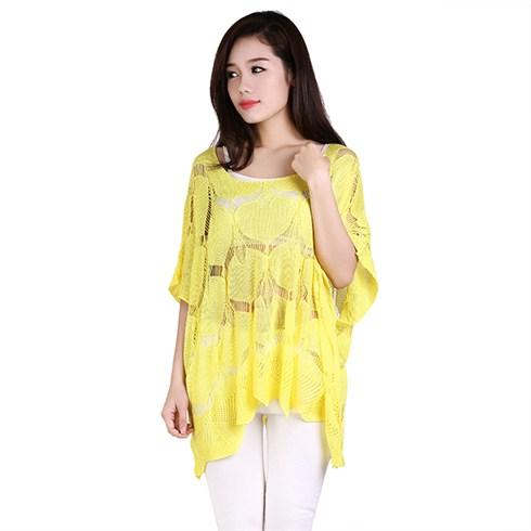 Áo len dệt kim hình lá form rộng NC4161 - màu vàng