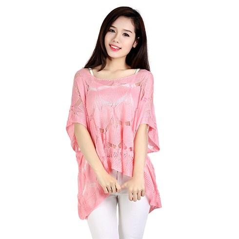 Áo len dệt kim hình lá NC4161 - màu hồng nhạt