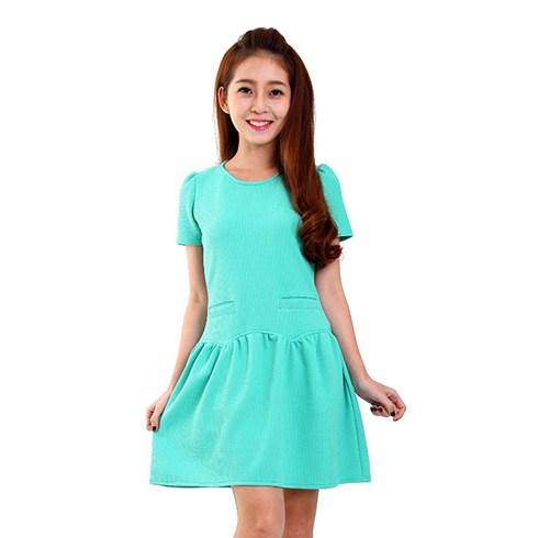 Đầm thun xòe 2 túi màu xanh ngọc
