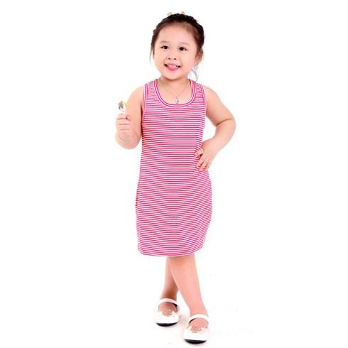 Đầm thun sọc trắng hồng nhỏ 2 túi D003