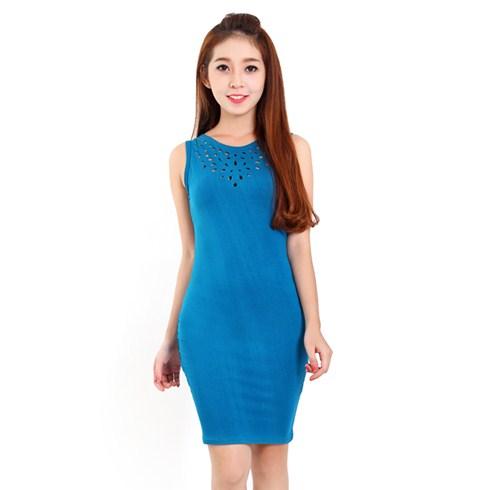 Đầm thun body cắt lazer màu xanh