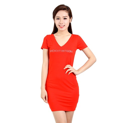 Đầm thun body chữ đính đá màu đỏ