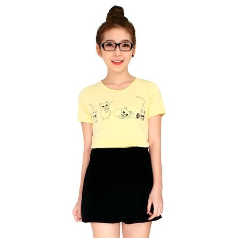 Áo thun nữ in họa tiết 4 con mèo màu vàng Cirino