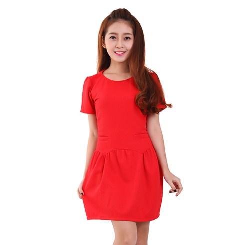 Đầm thun xòe 2 túi màu đỏ