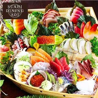 Nhóm Mua - Buffet 100 mon nuong, lau, sashimi, sushi - Sushi Dining AOI