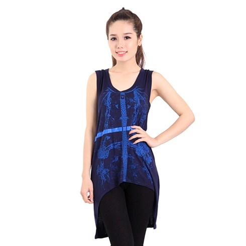 Áo thun high - low đính hạt sành điệu màu xanh đen