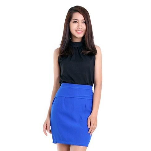 Chân váy chữ A ôm dáng màu xanh