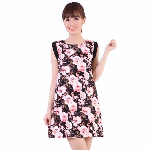 Đầm thun mỹ đắp sườn hoa văn hồng - Thương hiệu Gofa
