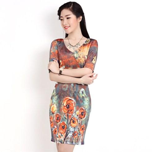 Đầm thun tay lửng họa tiết xuất khẩu