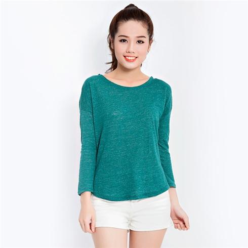 Áo thun len dài tay xuất khẩu màu xanh