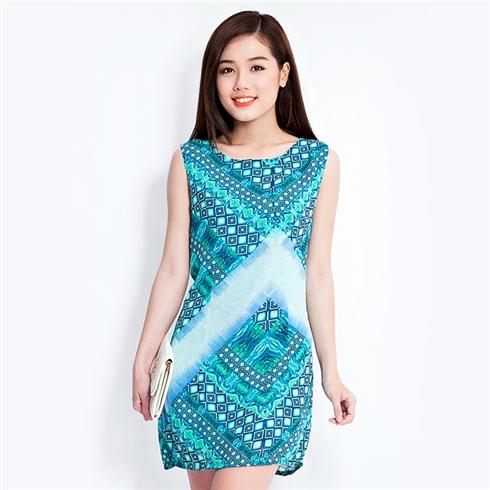 Đầm suông 2 lớp họa tiết hình thoi