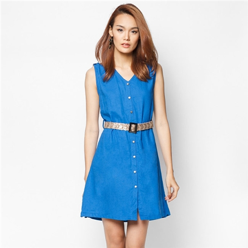 Đầm linen kim sa màu xanh bích Cirino