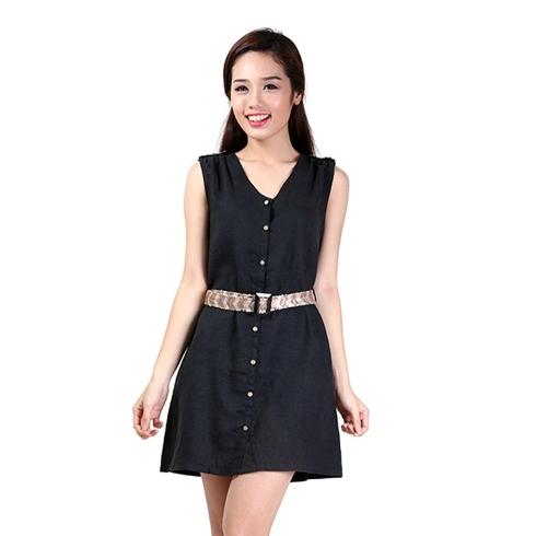 Đầm linen kim sa màu xanh đen Cirino