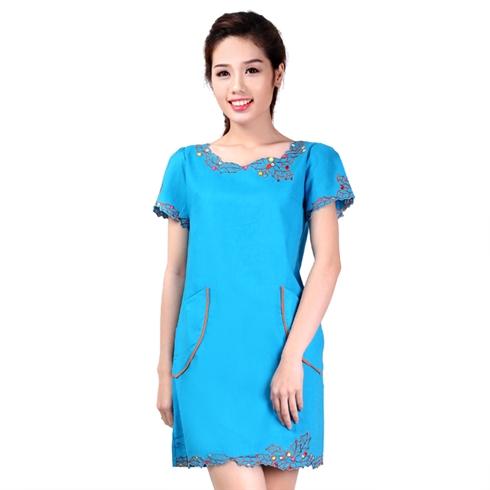 Đầm linen trạng nguyên màu xanh dương Cirino