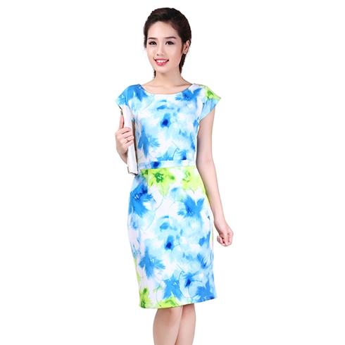 Đầm ôm công sở hoa xanh Cirino
