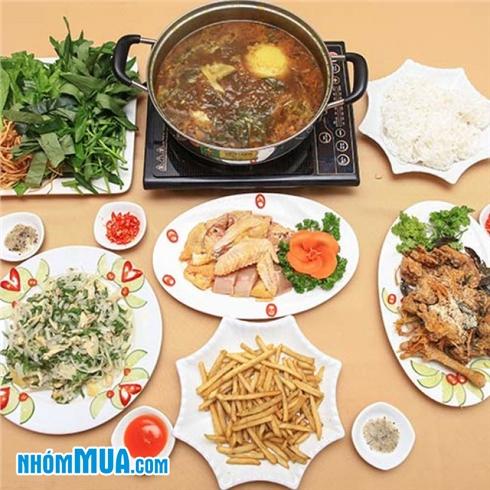 Lẩu gà nhiều món thơm ngon cho 4 người - Nhà Hàng Sơn Lâm