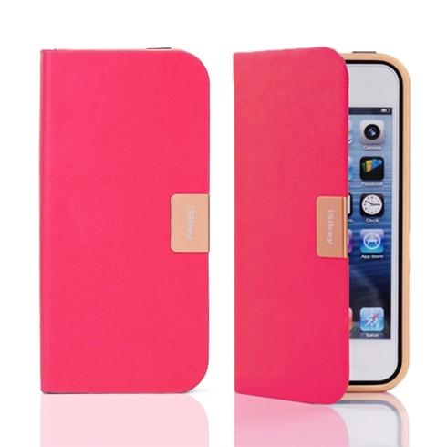 Bao da iPhone 5/5S iSikey tự đóng nắp khi rơi - màu hồng