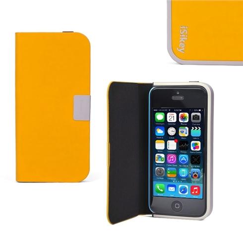 Bao da iPhone 5/5S iSikey tự đóng nắp khi rơi - màu vàng