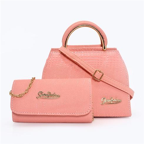 Set túi xách và ví cầm tay Sky hồng MS15