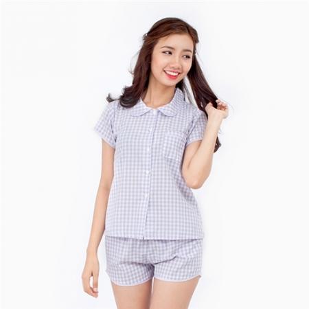 Bộ Pyjama tay ngắn ren cổ PN004 màu caro tím