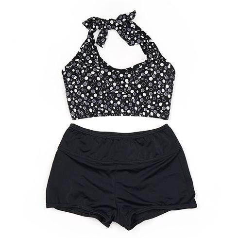 Set áo lửng cột dây họa tiết chấm bi đen trắng - quần short