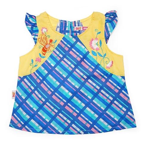 Áo kiểu caro 4A x 129 màu xanh YF