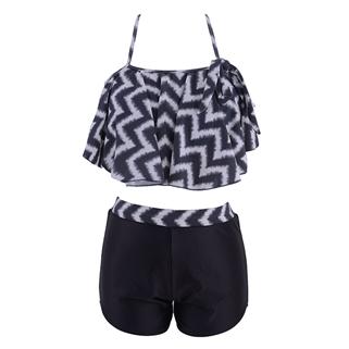 Nhóm Mua - Set bikini VNXK quan shorts phoi ao beo zigzac - Mau den