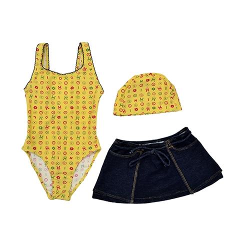 Đồ bơi kèm nón + váy màu vàng phối jean CJ001 (từ 15 - 25kg)