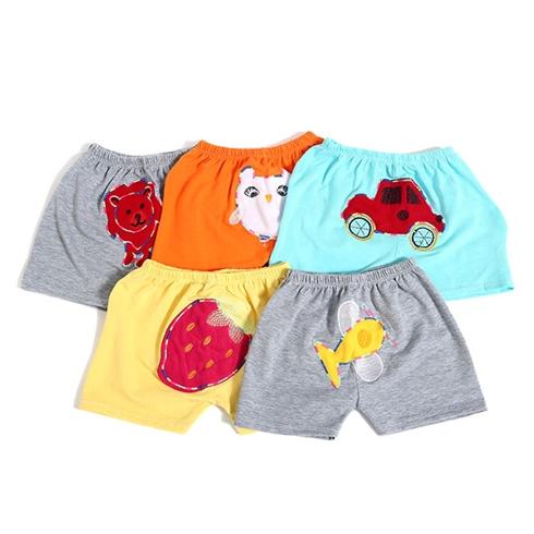 Combo 5 quần đùi mông thú cotton 4 chiều cho bé