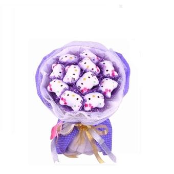 Hoa gấu bông 11 mèo Kitty Qua Truc Tuyen (Trắng phối tím)