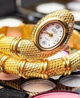 Đồng hồ hình rắn mạ vàng, bạc