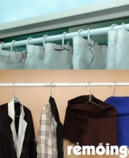 Thanh treo quần áo, màn cửa không dùng đinh, vít