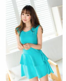 Đầm blue xếp tầng