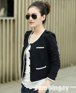 Áo khoác đen viền trắng thời trang