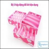 Combo 03 chiếc hộp vải xinh xắn đựng đồ lót, cà vạt hay tất vô cùng tiện dụng với giá chỉ 79.000 vnđ cho giá trị sử dụng 160.000 vnđ